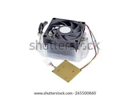 Computer processor (CPU) with radiator and fan, isolated on white background - stock photo