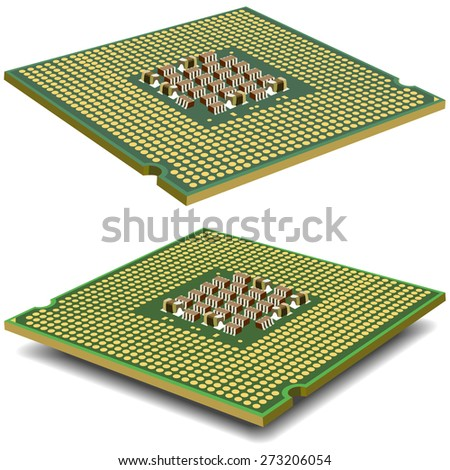Computer  processor microcircuit isolated on a white background.  illustration.