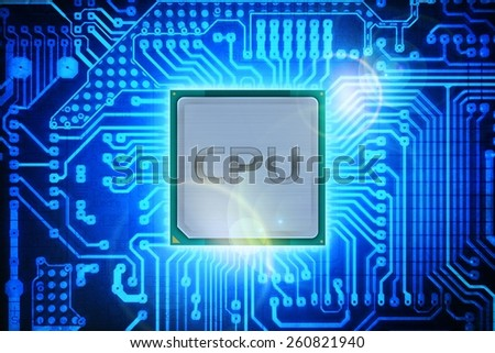 Computer Processor on Circuit Board Background. Computers Technology. - stock photo