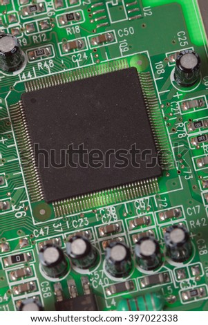 computer processor on green board, photo. Central Computer Processors CPU concept. Foto of macro view central processor unit on mainboard with shine lines - stock photo