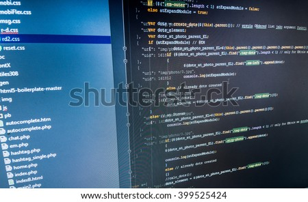 Computer program.  Website codes on computer monitor. Programmer occupation. Developer working on program codes in office. Programmer developer screen. Monitor photo. Software development.   - stock photo