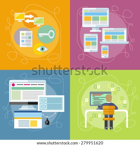 Computer programmer sitting in chair in front of computer at table and programming. Web design concept. SEO optimization, programming process and web analytics. Responsive web design. Raster version - stock photo