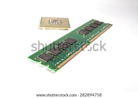 Computer RAM and CPU module isolated on white background.