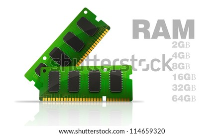Computer RAM Memory Cards isolated on white background. High resolution 3D - stock photo