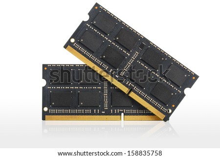 Computer RAM Memory Cards, Isolated over white