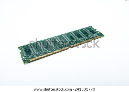Computer ram on white background with selective focusing