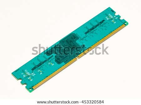 Computer RAM (Random-Access Memory) module, isolated on white background. Closeup details. - stock photo