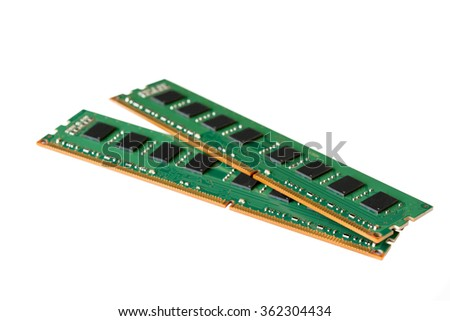 Computer Random Access Memory (RAM) chips isolated on white background.