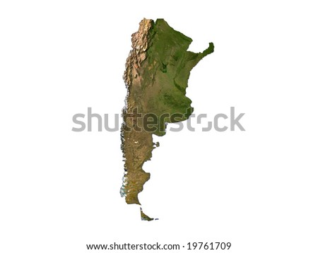 Computer Render Of Argentina On White Background