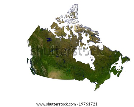 Computer Render Of Canada On White Background