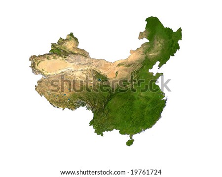 Computer Render Of China On White Background