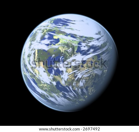 Computer Render of Earth like planet