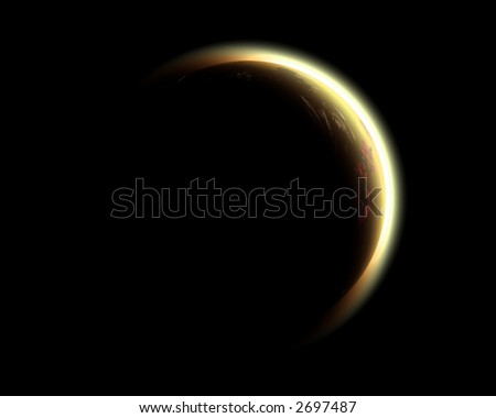 Computer Render of Eclipse - stock photo