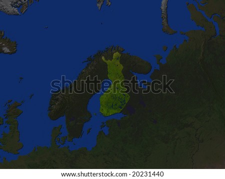 Computer Render Of Finland Highlighted