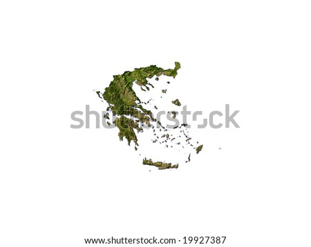 Computer Render Of Greece On White Background