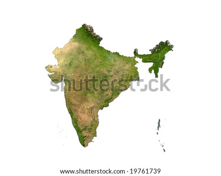Computer Render Of India On White Background