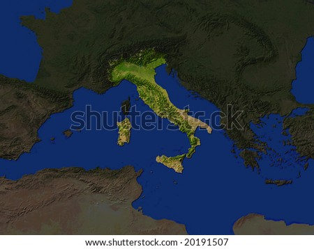 Computer Render Of Italy Highlighted