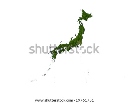 Computer Render Of Japan On White Background
