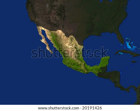 Computer Render Of Mexico Highlighted