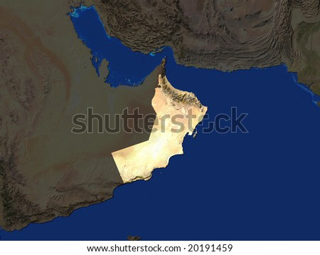 Computer Render Of Oman Highlighted