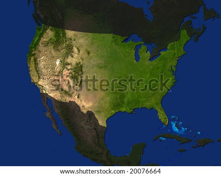 Computer Render Of The USA Highlighted