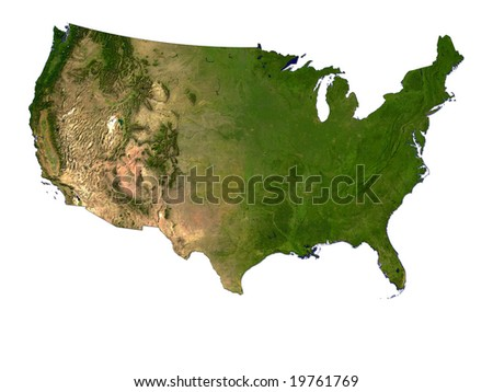 Computer Render Of USA On White Background