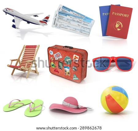 Computer render travel and recreation objects set. Plane, air tickets, passports, sunbed, old suitcase for travel, sunglasses, beach shoes, beach hat, and colorful beach ball. - stock photo