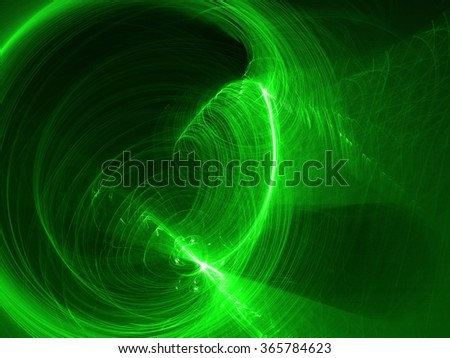 computer rendered abstract featuring green arcs and circles