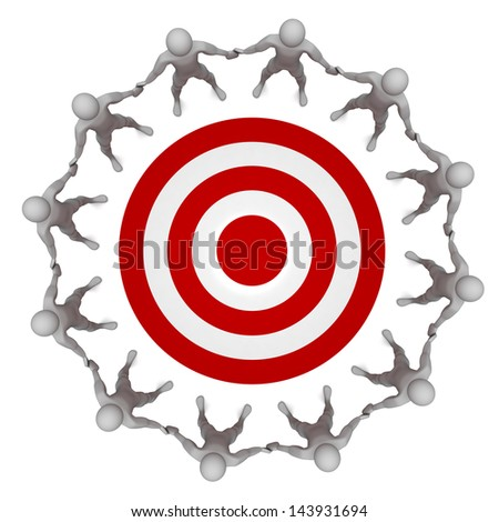 Computer Rendered Graphic for the concept of a team target - stock photo