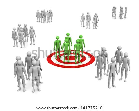 Computer Rendered Graphic of a concept for target customers - stock photo