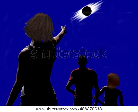 computer rendered illustration of a group of people watching a total eclipse of the sun