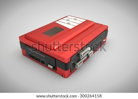 computer rendered old red walkman on white background