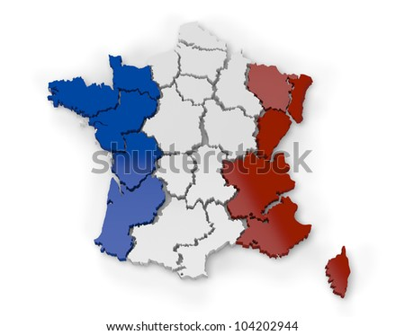 Computer rendering of a map of France showing regions in 3d - stock photo