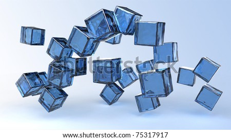 Computer rendering of glass blue cubes - stock photo