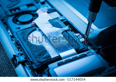 computer repair electronic engineer of technology. Maintenance cpu hardware upgrade of motherboard. hard disk drive