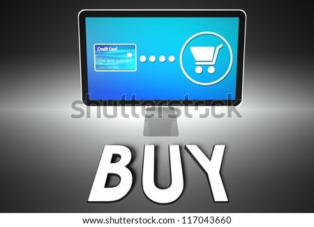 Computer screen and buying online with word Buy, E-commerce concept - stock photo