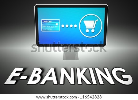 Computer screen and buying online with word E-banking, E-commerce concept