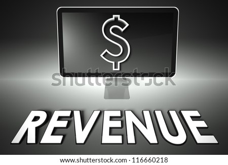 Computer screen and dollar sign with word Revenue, E-commerce concept - stock photo