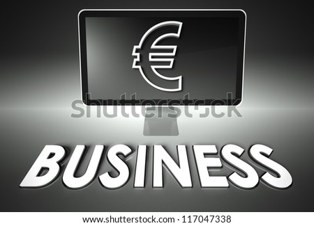 Computer screen and euro sign with word Business, E-commerce concept - stock photo