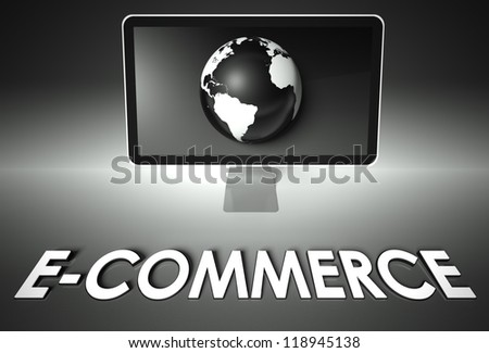 Computer screen and globe with word E-commerce, Business concept - stock photo