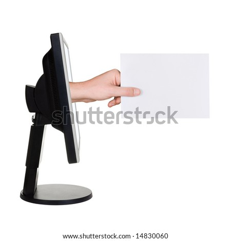 Computer screen and hand with card, isolated on white background