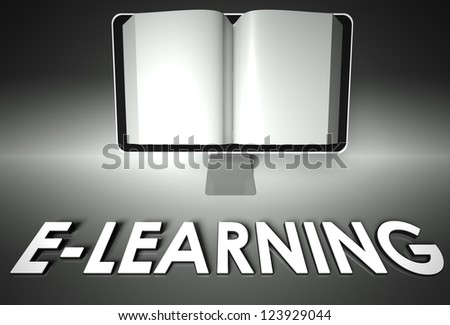 Computer screen and open book with word E-learning, Internet concept - stock photo