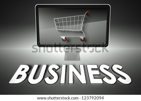 Computer screen and shopping cart with word Business, E-commerce concept - stock photo