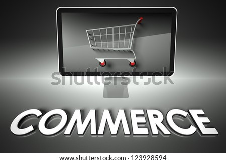 Computer screen and shopping cart with word Commerce, E-commerce concept - stock photo