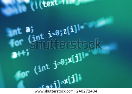 Computer script. Programming code abstract screen of software developer. Digital abstract bits data stream, cyber pattern digital background. Selective focus effect. Blue color.  - stock photo