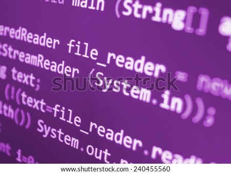 Computer script. Programming code abstract screen of software developer. Digital abstract bits data stream, cyber pattern digital background. Selective focus effect. Pink purple color.  - stock photo