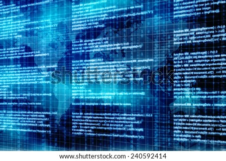 Computer script. Programming code abstract screen of software developer. Digital abstract bits data stream, cyber pattern digital background. Selective focus effect - stock photo
