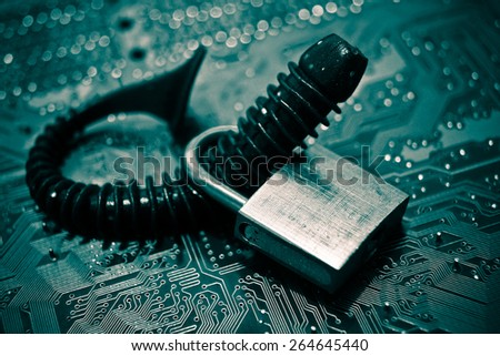 computer security breach due to worm attack - stock photo
