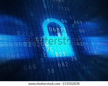 Computer security code abstract image, encrypted password protection conceptual image for firewall and antivirus software.
