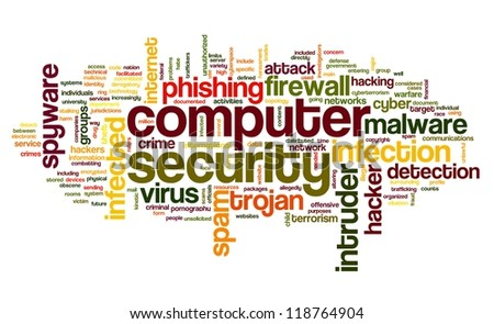 Computer security concept in word tag cloud on white background - stock photo